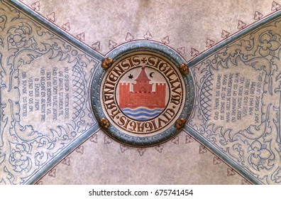 The coat of arms of Copenhagen, Denmark.