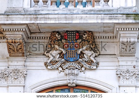 Coat of Arms Custodi Civitatem Domine is the Westminster City Council Coat of Arms in London, England, UK
