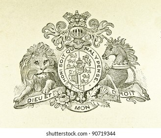 """Coat of arms of Great Britain and Ireland. Illustration by Alwin Zschiesche, published on """"Illustrierts Briefmarken Album"""", Leipzig, 1885."""
