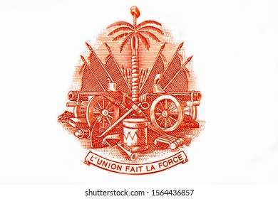 Coat of arms of Haiti (canons, flags, drum, anchor, soufflets, trumpet, sailing ship, palm tree with with Phrygian cap). Portrait from Haiti 50 Gourdes 2000 Banknotes.