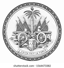Coat of arms of Haiti (canons, flags, drum, anchor, soufflets, trumpet, sailing ship, palm tree with with Phrygian cap). Portrait from Haiti Banknotes.