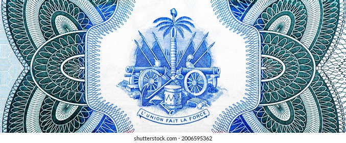 Coat of arms of Haiti. Portrait from Haiti 10 Gourdes 2000 Banknotes.