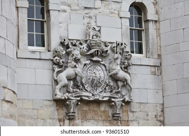 Coat of Arms at the Middle Tower gate, Tower of London, UK