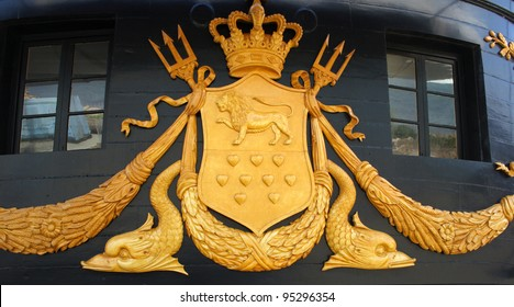 """Coat of Arms on the frigate """"Jylland"""" at Ebeltoft, Denmark"""