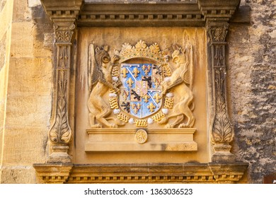 Coat of arms of the Orleans-Longueville family, featured on the Palace des halles, an elegant turreted Renaissance market hall build in 16th century in Neuchatel, Switzerland.