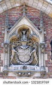 The coat of arms over the entrance to St. John's Hospital in Bruges, Belgium