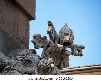 The coat of arms of Pope Innocent X Pamphili on the Fountain of the Four Rivers in Piazza Navona, Rome. He commissioned this fountain from Gian Lorenzo Bernini in 1651.