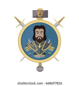 Coat of arms shield with swords and hummer . Flat style. Cold weapon and armor with king portrait. Illustration for games industry concepts, icons and pictograms. Isolated on white background.