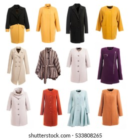 coat collection on the white isolated background