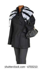 Coat with fur and a bag on a white background