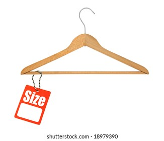 coat hanger and blank size tag on white