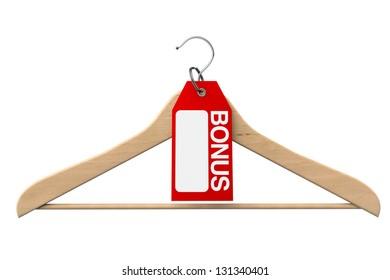 Coat Hanger with Bonus Tag on a white background