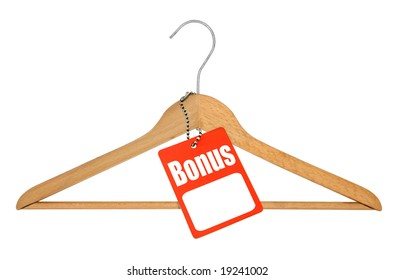 coat hanger and bonus tag on white background