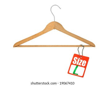 coat hanger and L size tag on white