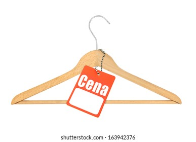 Coat hanger and polish price tag isolated on white background