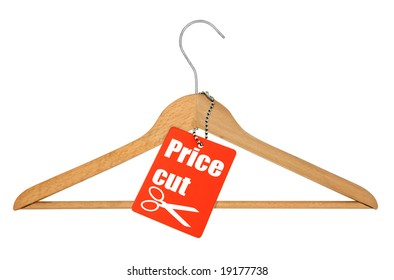 coat hanger and price cut tag on white background