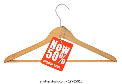 coat hanger and price tag isolated on white