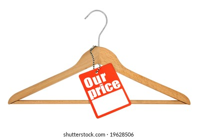 coat hanger and price tag on white background