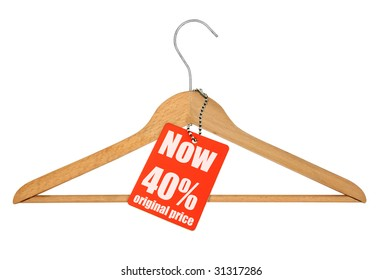 coat hanger and sale tag on white,  photo does not infringe any copyright