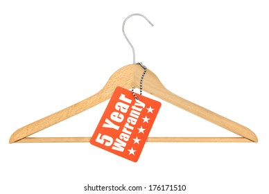 coat hanger with warranty tag isolated on white background