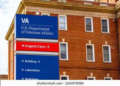Coatesville, PA / USA - February 24, 2020: Close up of the sign at the US Department of Veterans Affairs Medical Center.