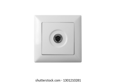 Coaxial Socket. Isolated on White Background.