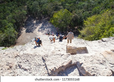 Coba, Mexico - February 4,2018: Majestic ruins in Coba, Mexico. Coba is an ancient Mayan city on the Yucatan Peninsula, located in the Mexican state of Quintana Roo