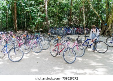 COBA, MEXICO - MARCH 1, 2016: Bicycles for rent at the ruins of the Mayan city Coba, Mexico