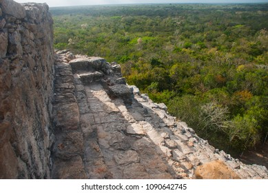 Coba, Mexico, Yucatan: Mayan Nohoch Mul pyramid in Coba. Upstairs are 120 narrow and steep steps.