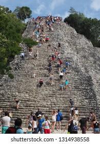 Coba, Quintana Roo, Mexico, December 27, 2018. Nohoch Mul Pyramid at Mayan Ruins of Coba, Quintana Roo, Mexico.