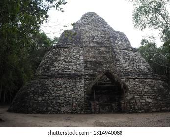 Coba, Quintana Roo, Mexico, December 27, 2018. Watch Tower at Mayan Ruins of Coba, Quintana Roo, Mexico.