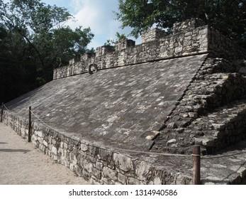 Coba, Quintana Roo, Mexico, December 27, 2018. Mayan Ball Game Court of Coba, Quintana Roo, Mexico.