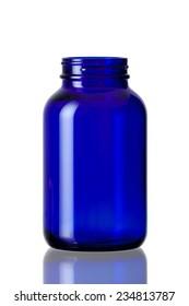 Cobalt blue bottle opened