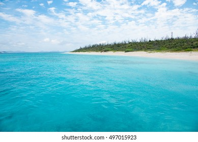 Cobalt blue of the sea and the sky, Minnajima Island, okinawa, japan
