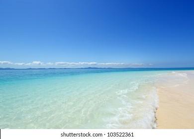 The cobalt blue sea and blue sky of Okinawa.