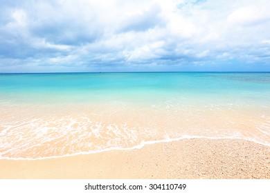 The cobalt blue sea and blue sky of Okinawa.Japan