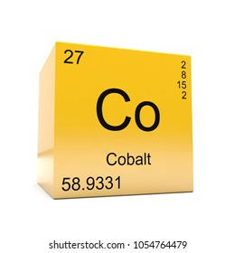 Cobalt chemical element symbol from the periodic table displayed on glossy yellow cube 3D render