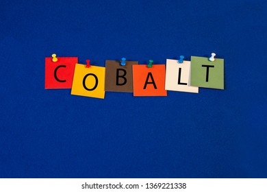 Cobalt – one of a complete periodic table series of element names - educational sign or design for teaching chemistry.
