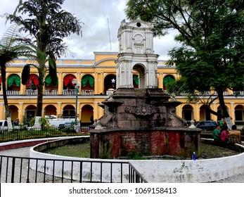 Coban, Alta Verapaz / Guatemala - 12 12 2017: the monument in Central Plaza of Coban city, the capital of Alta Verapaz region