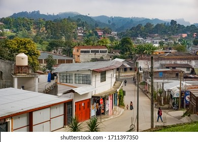 COBAN, GUATEMALA - 03.02.2019: Typical central american local streets of Coban in a tropical region, Alta Verapaz, Guatemala