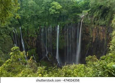 Coban sewu tumpak waterfall,  Lumajang, Jawa,  Indonesia