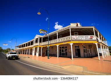 COBAR, NEW SOUTH WALES, AUSTRALIA, APRIL 2019; The exterior of the Great Western Hotel.