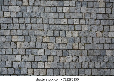 Cobble Stone Road Grey Lines Background Stock Photo