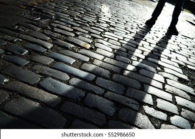 cobble street with shadow