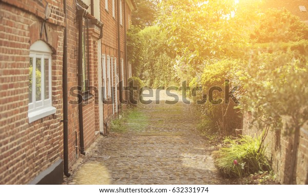 Cobbled lane in a rural English village