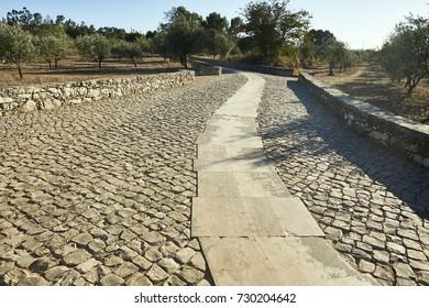 cobbled road between fatima and aljustrel