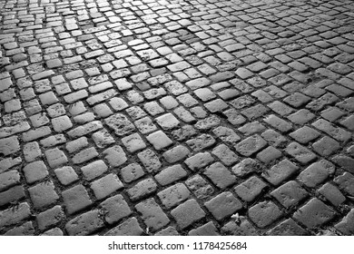 Cobbled square backgrond - cobbles pattern in Lubeck, Germany.