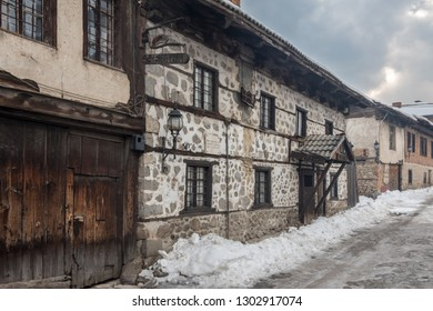 Bansko/Bulgaria-January 19, 2019  Cobbled street in the old town of Bansko at winter. The Old Town of Bansko is a UNESCO World Heritage site, with a maze of cobbled streets and stone buildings.