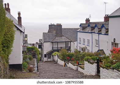 The cobbled street i the small village Clovelly in the district of Devon, England