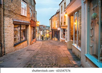 Cobbled streets at Catherine Hill in Frome in Somerset